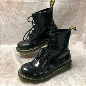 Womens Dr. Marten's 1460 Black Patent Lamper Boots